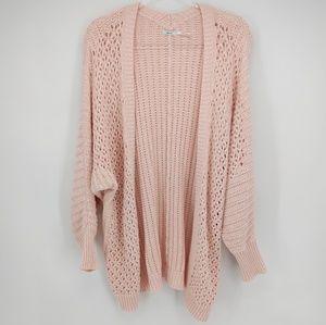 Kimchi Blue Light Pink Open Knit Cardigan Sz M